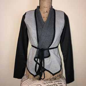 Gray/Black Wrap Tie Cropped Jacket